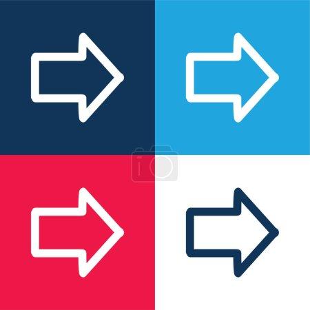 Illustration pour Flèche pointant vers la droite Dessiné Symbole bleu et rouge quatre couleurs minimum jeu d'icônes - image libre de droit