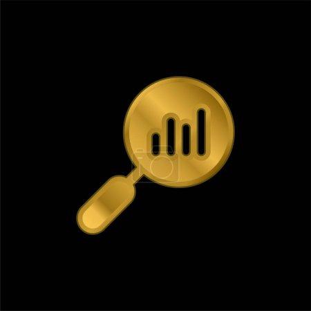 Illustration pour Icône métallique plaquée or analytique ou vecteur de logo - image libre de droit