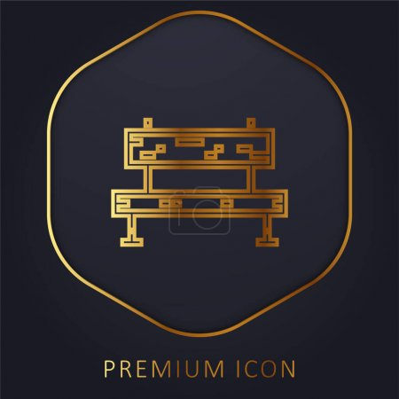 Photo pour Banc ligne d'or logo premium ou icône - image libre de droit