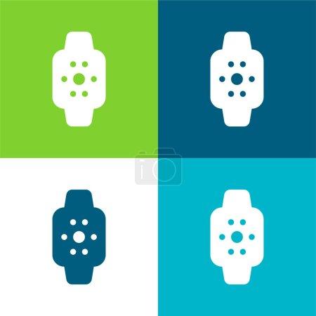 Photo pour Apple Watch Ensemble d'icônes minimal plat quatre couleurs - image libre de droit