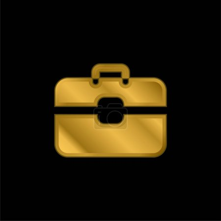 Illustration for Briefcase gold plated metalic icon or logo vector - Royalty Free Image