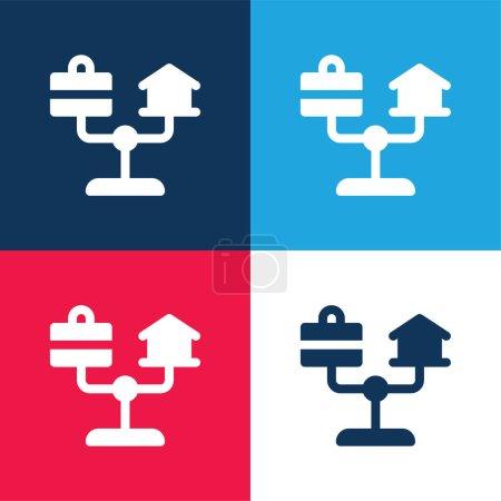 Illustration pour Balance bleu et rouge quatre couleurs minimum jeu d'icônes - image libre de droit