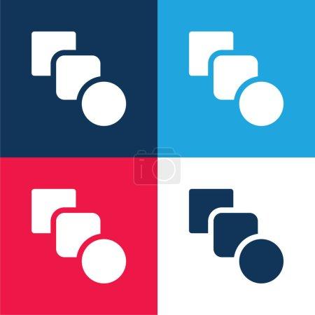 Illustration pour Mélanger bleu et rouge ensemble d'icônes minimes quatre couleurs - image libre de droit