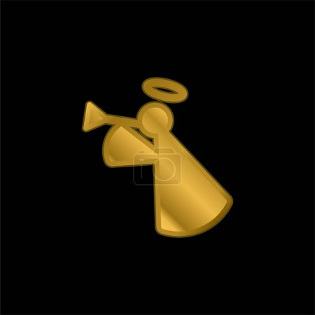 Illustration for Angel gold plated metalic icon or logo vector - Royalty Free Image