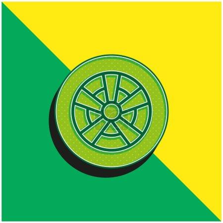 Illustration pour Roue en alliage Logo vectoriel 3d moderne vert et jaune - image libre de droit