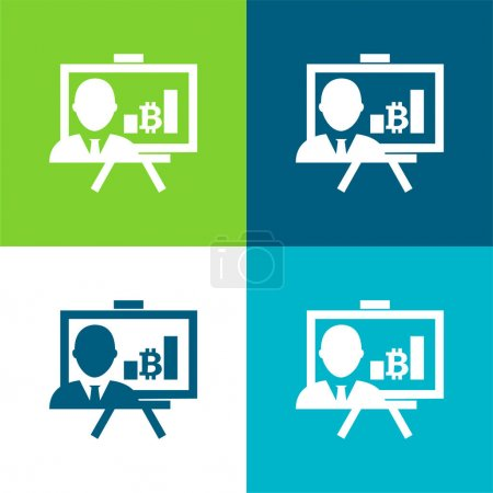 Bitcoin Presentation With Graphs And Reporter Flat four color minimal icon set