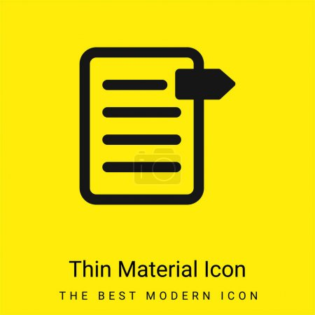 Illustration for Bookmark On File minimal bright yellow material icon - Royalty Free Image
