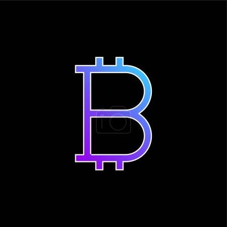 Illustration pour Bitcoin signe bleu dégradé vecteur icône - image libre de droit
