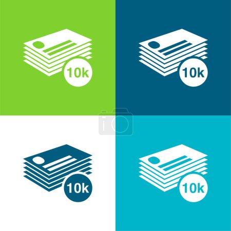 Illustration pour 10k de cartes de visite pile plat quatre couleurs minimum jeu d'icônes - image libre de droit