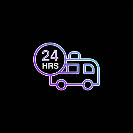 Photo for Ambulance Assistance 24 Hours blue gradient vector icon - Royalty Free Image