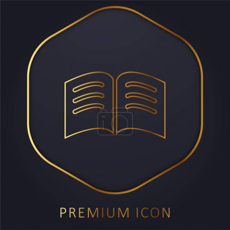 Book Of Black Pages With White Text Lines Opened In The Middle golden line premium logo or icon