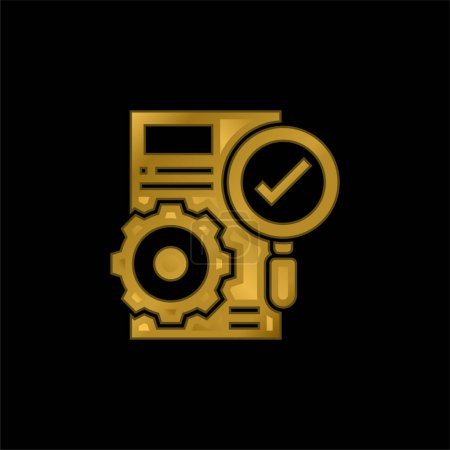 Accuracy gold plated metalic icon or logo vector