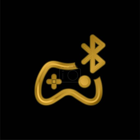 Bluetooth gold plated metalic icon or logo vector