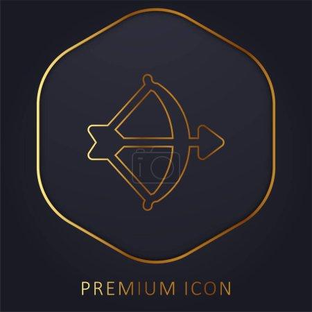 Archery golden line premium logo or icon