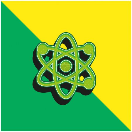 Illustration for Atom Green and yellow modern 3d vector icon logo - Royalty Free Image