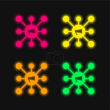 Illustration pour Publicité quatre couleurs rougeoyantes icône vectorielle néon - image libre de droit