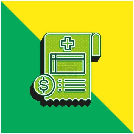 Illustration pour Logo moderne vectoriel 3D Bill Green et jaune - image libre de droit