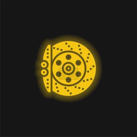 Brake yellow glowing neon icon
