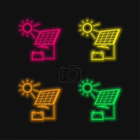 Illustration for Battery Charging With Solar Panel four color glowing neon vector icon - Royalty Free Image