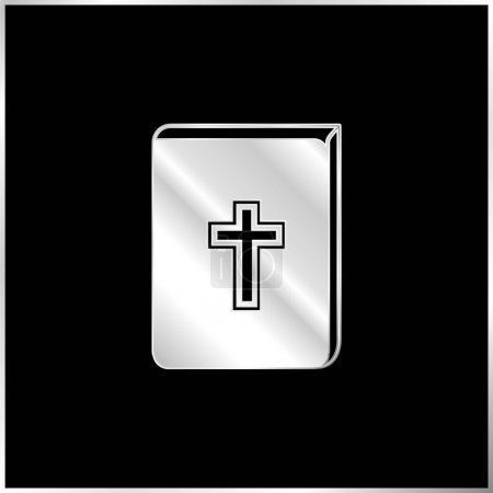 Bible With Cross Sign In Front silver plated metallic icon