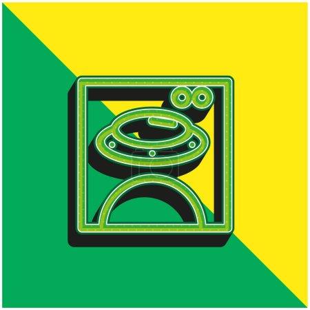 Illustration pour Bear Image On Square Box Logo vectoriel 3d moderne vert et jaune - image libre de droit