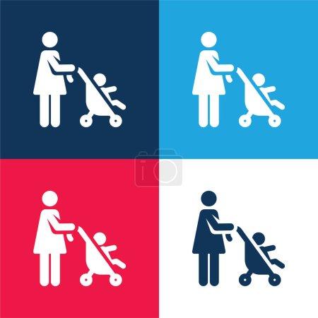 Poussette bébé bleu et rouge ensemble d'icônes minimes quatre couleurs