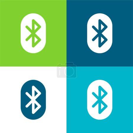 Illustration pour Ensemble d'icônes minime Bluetooth Flat quatre couleurs - image libre de droit