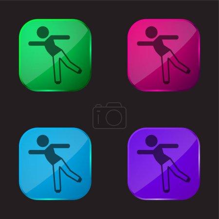 Illustration pour Garçon debout sur une jambe quatre icône de bouton en verre de couleur - image libre de droit