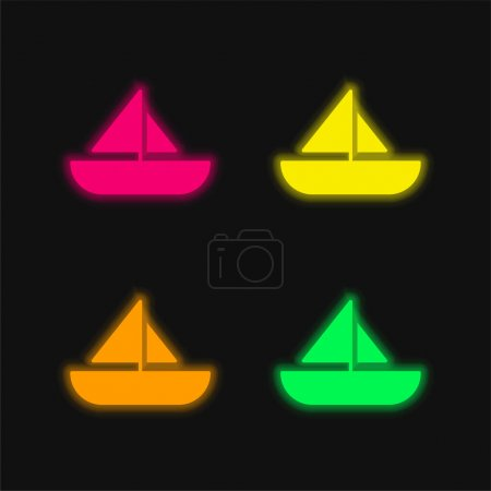 Boat four color glowing neon vector icon