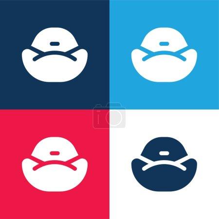 Illustration pour Sac haricot bleu et rouge quatre couleurs minimum icône ensemble - image libre de droit