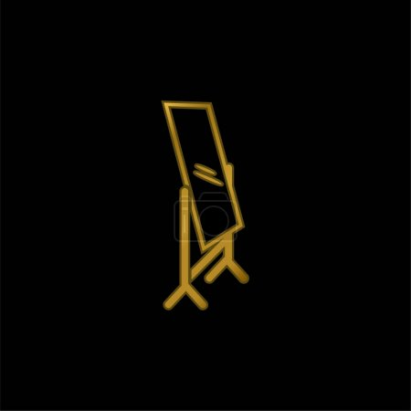 Bedroom Mirror gold plated metalic icon or logo vector