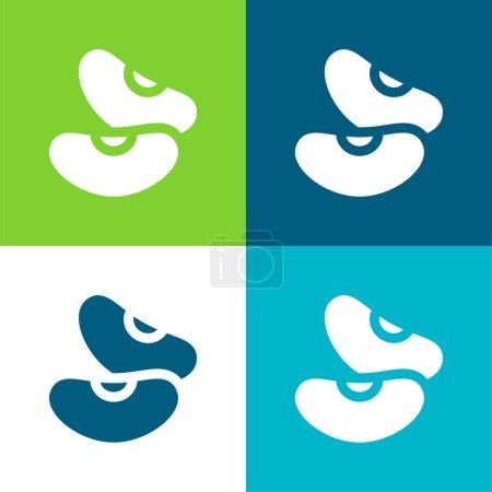Fasola płaskie cztery kolory minimalny zestaw ikon