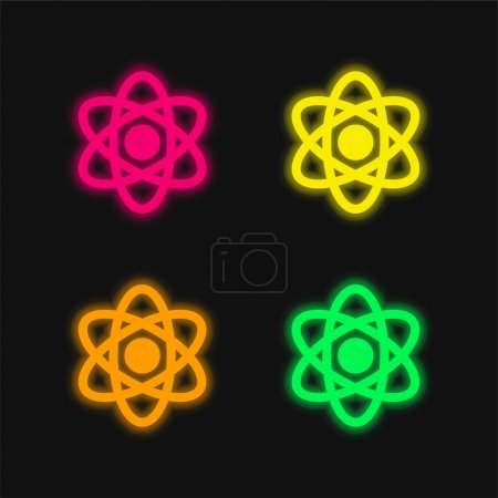 Illustration for Atom four color glowing neon vector icon - Royalty Free Image