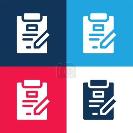 Illustration pour Accord bleu et rouge quatre couleurs minimum jeu d'icônes - image libre de droit