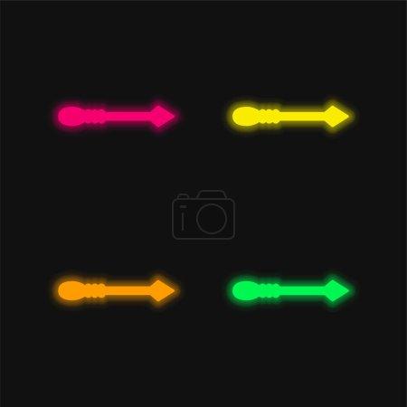Illustration pour Flèche quatre couleur rougeoyante icône vectorielle néon - image libre de droit