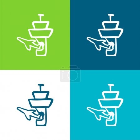 Illustration for Airplane And Airport Tower Outlines Flat four color minimal icon set - Royalty Free Image