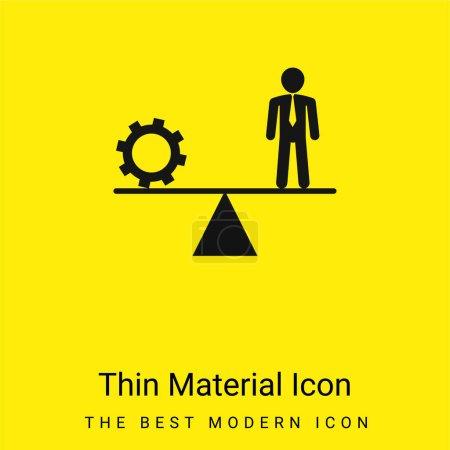 Illustration pour Équilibre entre roue dentée et homme d'affaires minime icône de matériau jaune vif - image libre de droit