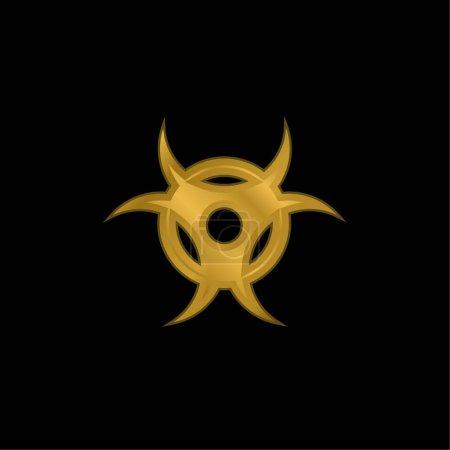 Biohazard gold plated metalic icon or logo vector