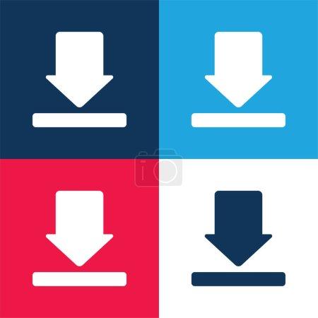 Flecha azul y rojo conjunto de iconos mínimo de cuatro colores