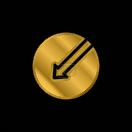 Illustration for Arrow Left gold plated metalic icon or logo vector - Royalty Free Image