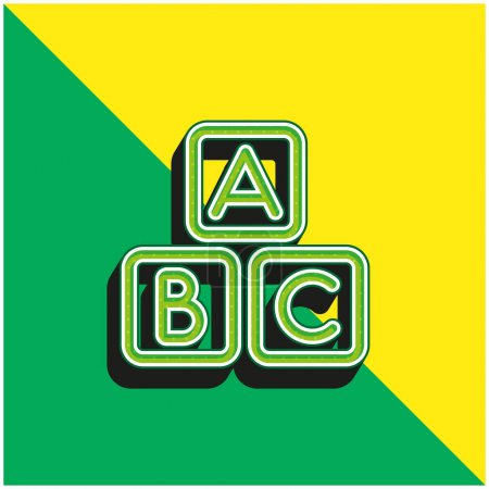 ABC Squares Green and yellow modern 3d vector icon logo