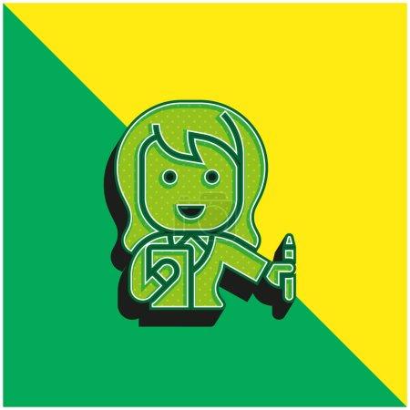 Illustration pour Comptable Logo vectoriel 3D moderne vert et jaune - image libre de droit