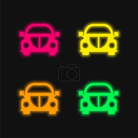 Illustration pour Beetle Car Front icône vectorielle néon éclatante de quatre couleurs - image libre de droit