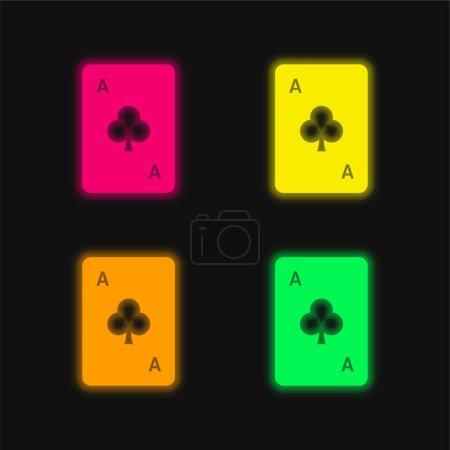 Illustration pour Ace Of Clubs icône vectorielle néon rayonnante de quatre couleurs - image libre de droit