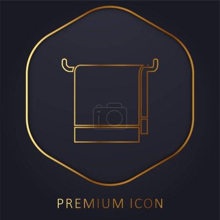 Bathroom Towel golden line premium logo or icon