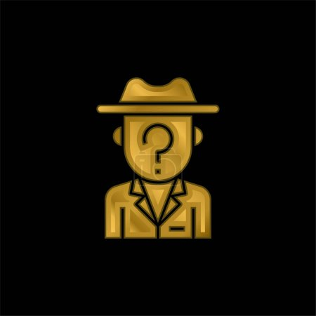 Anonymity gold plated metalic icon or logo vector