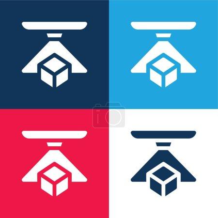 Photo pour Ensemble d'icônes minimes 3d bleu et rouge à quatre couleurs - image libre de droit
