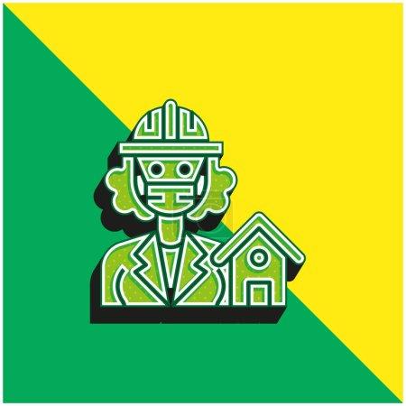Photo pour Architecte Logo vectoriel 3D moderne vert et jaune - image libre de droit