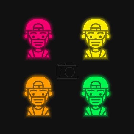 Illustration pour Garçon quatre couleur brillant icône vectorielle néon - image libre de droit
