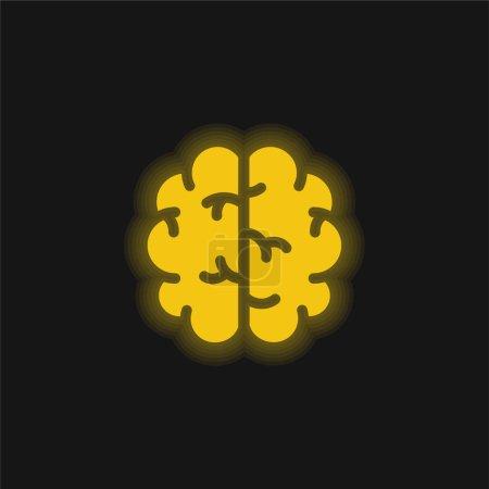 Photo pour Icône néon jaune cervelle - image libre de droit